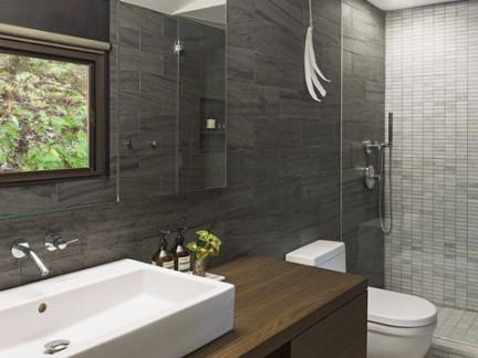 现代简约风格卫浴洗手台梳妆镜样板间