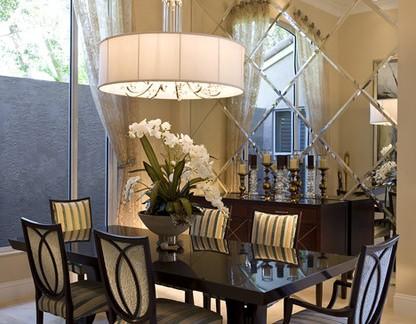 简欧风格别墅餐厅玻璃背景墙装修效果图