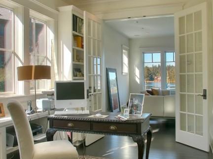 维多利亚风格开放式家庭书房平开门效果图欣赏