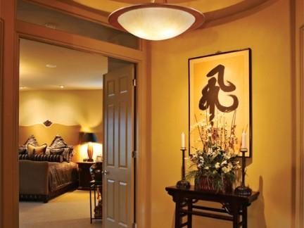 中式风格别墅门厅玄关吊顶装修设计