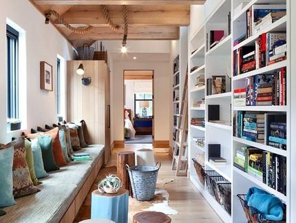 北欧自然风情客厅书柜造型设计图