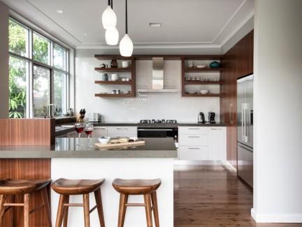 小户型厨房一体式灶台吧台精装图片
