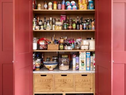 美式风格别墅厨房储藏室粉色橱柜门装修设计