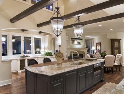 浪漫美式别墅开放式厨房效果图设计