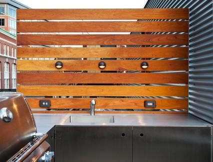 北欧风格别墅阳台不锈钢橱柜装修设计