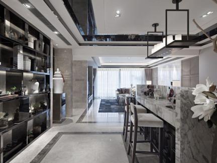 128m2三居室后现代风格餐厅吧台设计效果图