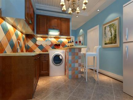 54平二居室地中海风格厨房吧台