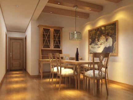 简约中式餐厅吊顶装修效果图