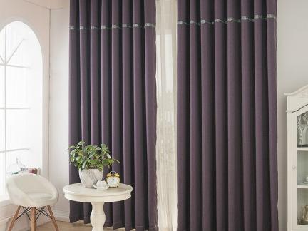 咖啡色厚重深色美式窗帘效果图图片