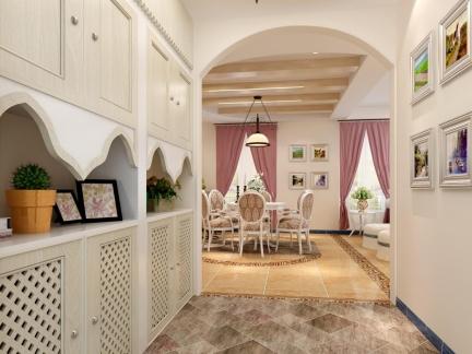 三居室美式风格入户鞋柜装修效果图