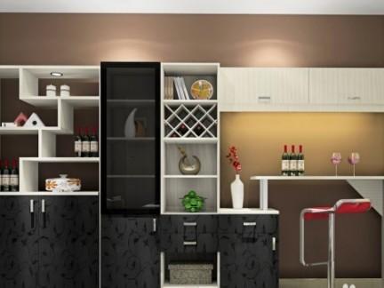 现代简约三居室95平黑色酒柜装修效果图