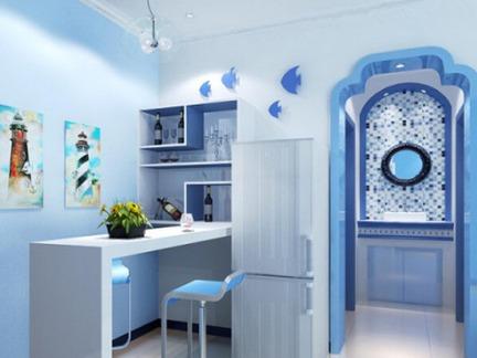 地中海风格蓝白吧台装修效果图