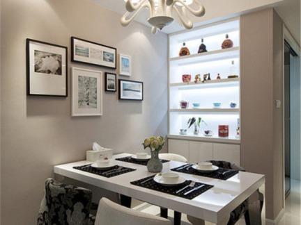 现代简约138平三居室餐厅白色酒柜效果图
