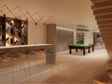 现代简约100平二居室餐厅木色酒柜效果图