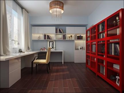 中式简约书房书柜效果图