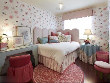 混搭风格二居室甜美女生卧室壁纸装修效果图