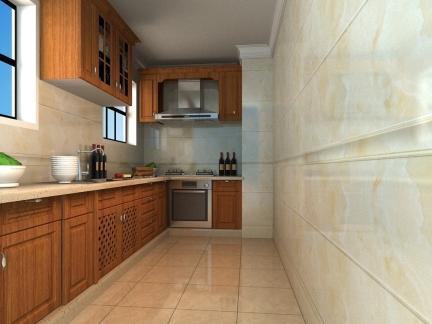 胡桃木中式古典风格L型厨房装修效果图