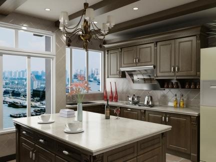 胡桃木饰面雅致西式古典厨房设计效果图
