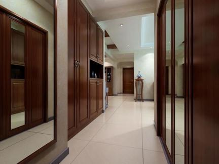 中式140平三居古色古香走廊玄关装修效果图