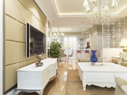 简欧风格两室两厅客厅白色屏风效果图