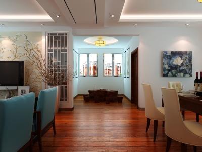 新中式风格-132.62平米三居室装修样板间