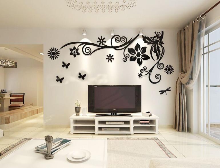 现代简约小户型客厅米色电视背景墙装修图