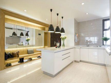 明亮简洁白色L型西式古典厨房装修效果图