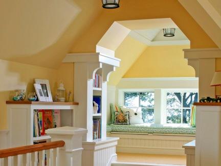 黄色地中海风格大空间客厅飘窗设计