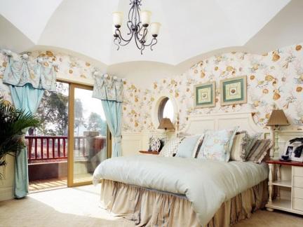 韩式田园风格温馨卧室装修效果图