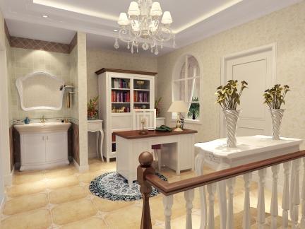 五居室欧式风格白色书房吊顶灯具效果图