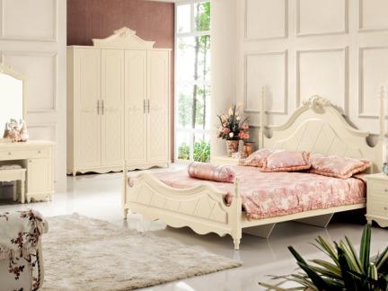 大户型欧式白色卧室床头柜效果图