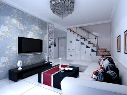 现代简约风格客厅背景墙浅蓝色壁纸装修图片