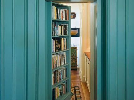 地中海风格卧室蓝色隐形门装修效果图