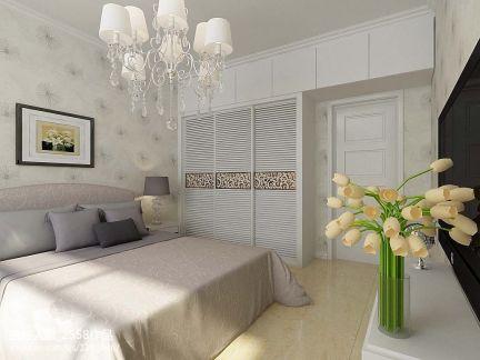 二居室田园风格卧室清新吊灯效果图