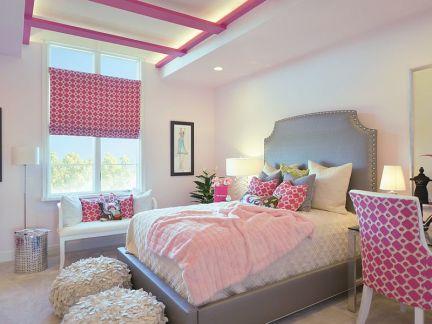 粉色现代欧式三居女孩卧室装修效果图
