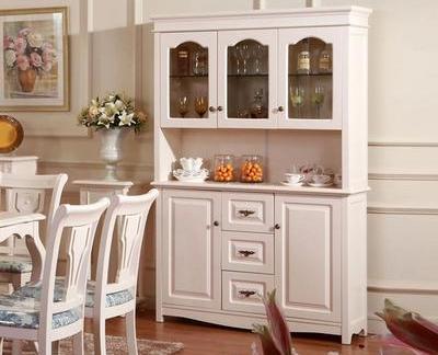 简欧风格四居室餐厅白色酒柜装修效果图