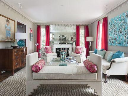 新中式别墅客厅粉色深情设计装修效果图