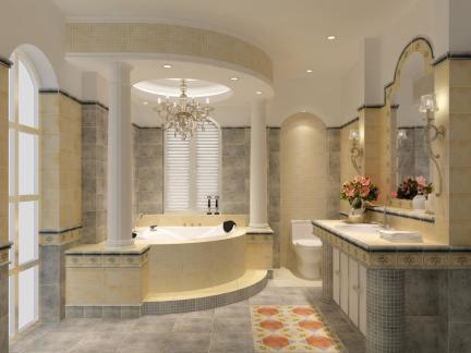 欧式风格现代感卫生间浴缸洗手台装修设计