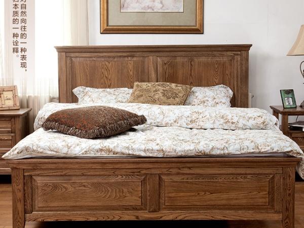 床 实木床 1.8米大床 美式床 榆木床