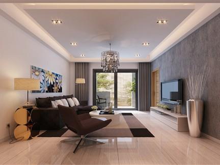 现代简约风格灰色简单客厅壁纸装修图片