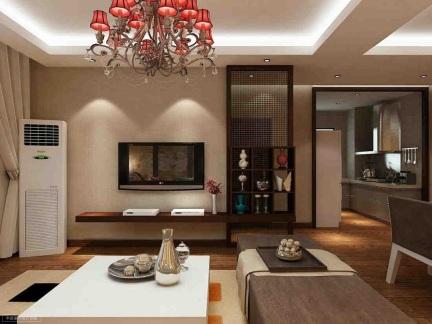 黑色中式风格客厅置物架隔断实景图
