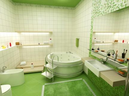 绿色田园风格卫生间个性浴缸效果图