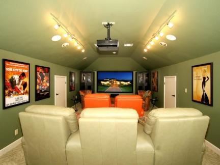 别墅混搭风格绿色地下室装修效果图