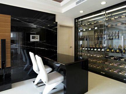 现代风格公寓玄关黑色酒柜效果图