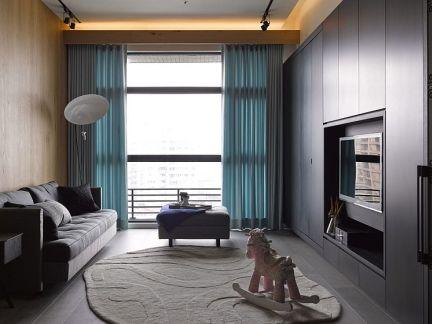 现代风格黑色客厅大落地窗装修效果图图片