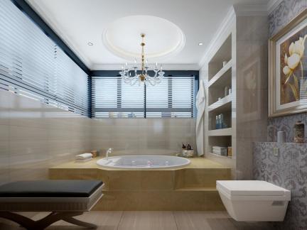 大户型五居室欧式风格卫生间浴缸效果图