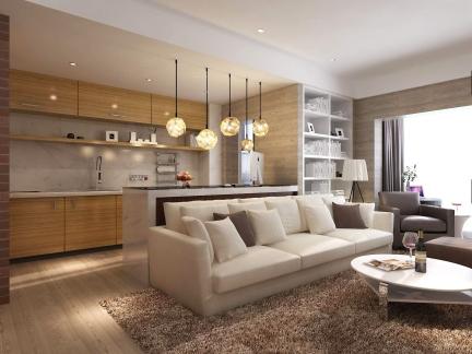 东南亚风格雅致客厅布艺沙发效果图
