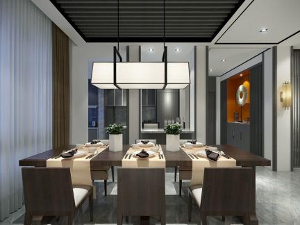 东南亚风格餐厅长方形特色灯具效果图