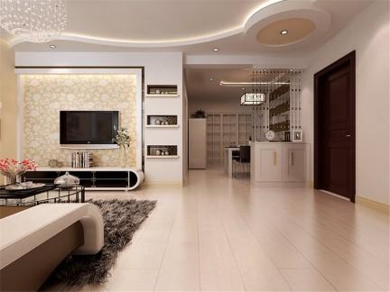 现代简约风格客厅电视背景墙黄色壁纸效果图