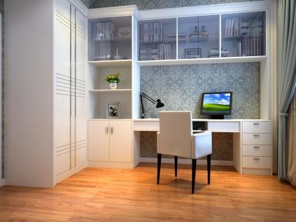 白色清新简约风格书房书桌组合柜设计